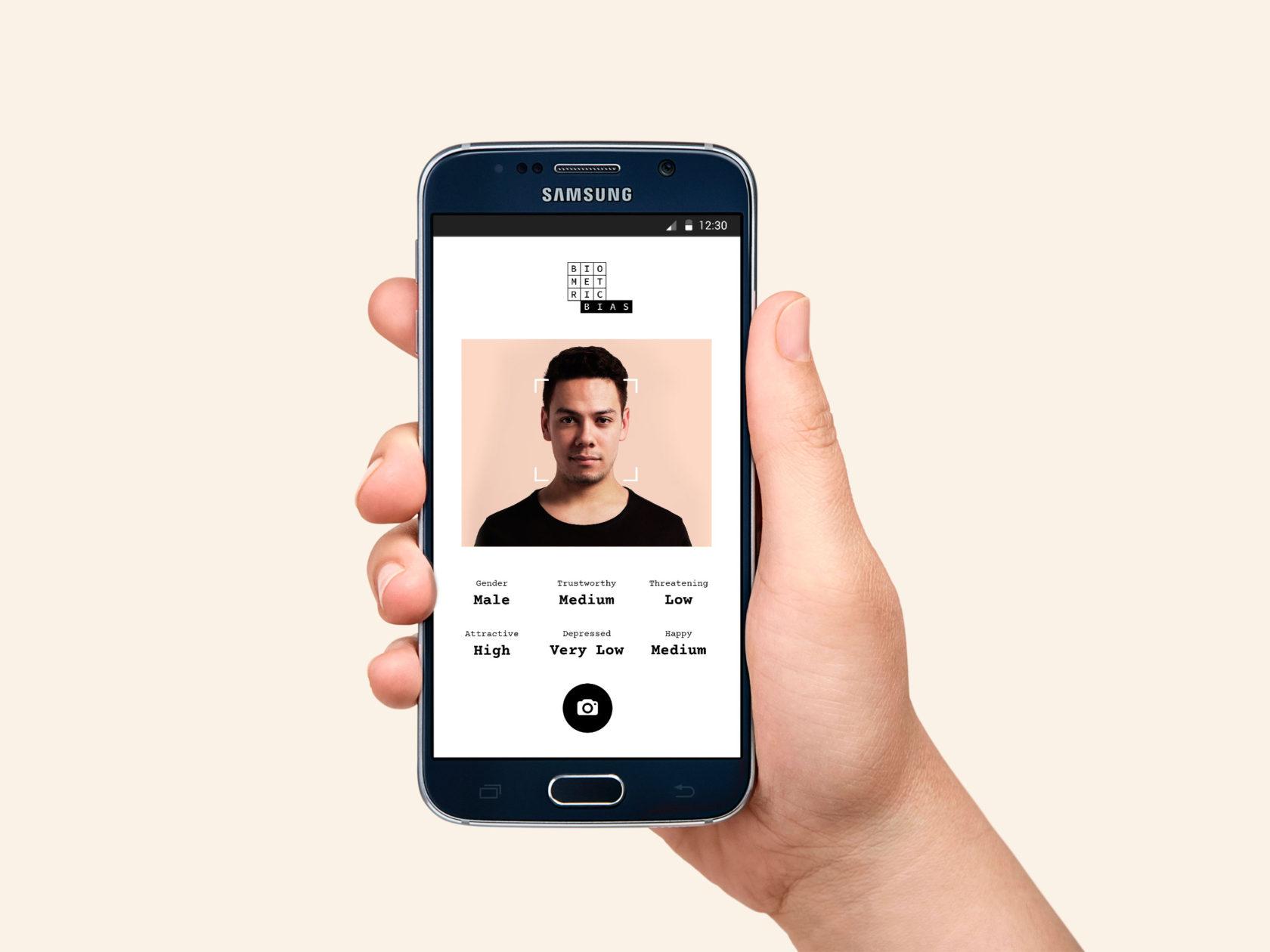Biometric Bias AI UI UX mobile web design by Furia